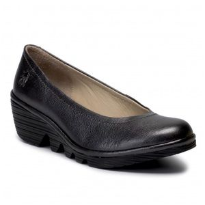 Fly London Black Leather Wedge Pump